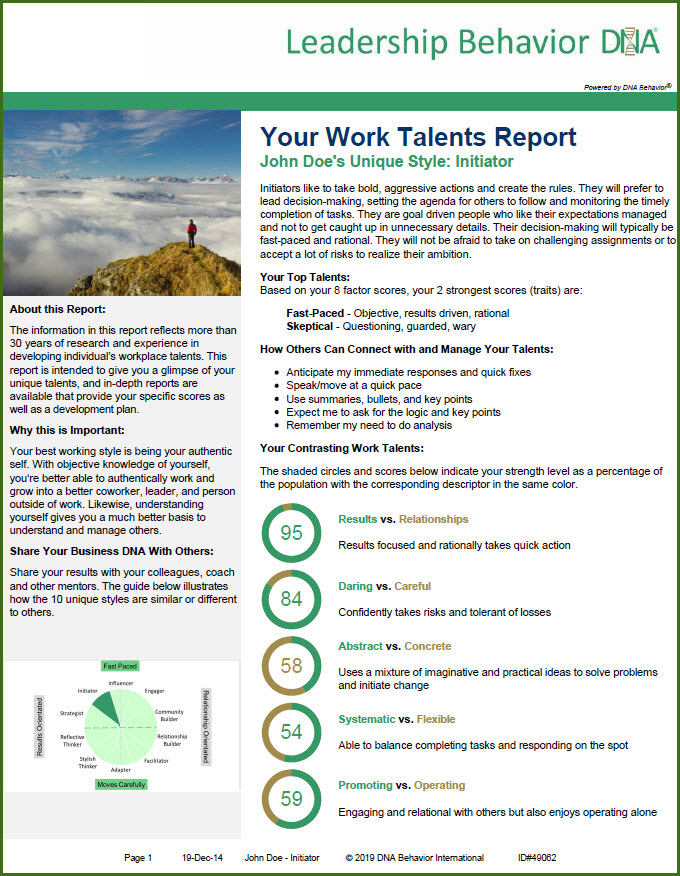 Business DNA Work Talents Report